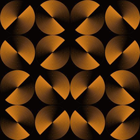 Illusione ottica, senza soluzione di continuità modello di cerchi oro lucida. Vector metallico texture di sfondo. Semplice da modificare, senza gradiente.