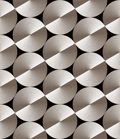 Optical illusion, seamless pattern of glossy circles with hexagonal grid. Vector metallic texture without gradient. Simple to edit. Illustration