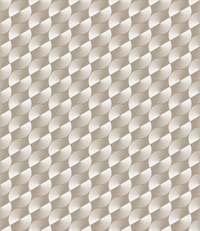 thee: Optical illusion, seamless monochrome pattern of glossy circles with hexagonal grid. Vector metallic texture without gradient. Simple to edit.