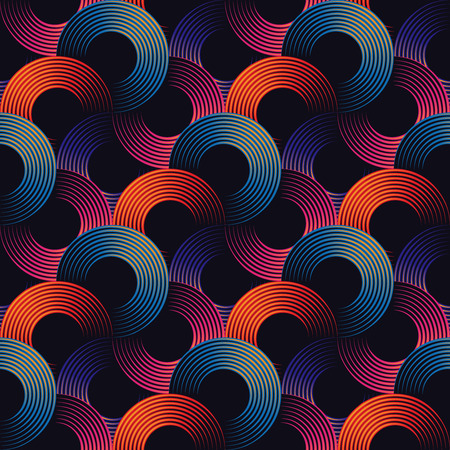 grid: Colorful optical illusion, seamless pattern of metallic linear rings. Vector geometric background design. Simple to edit, without gradient. Illustration