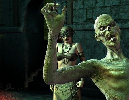 3D Rendering The blind woman and zombie in the Dungeon Stock Photo