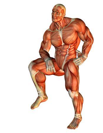 3D Rendering Muscle-Body-Builder-Standing auf einem Bein