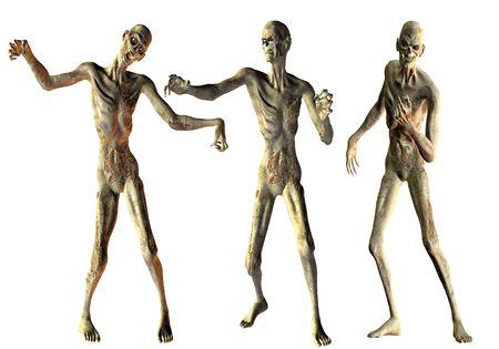 3D Rendering Dance of the undead zombies