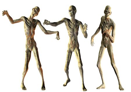 3D Rendering Dance of the undead zombies