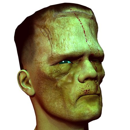 3D rendering of the profile view of a monster head