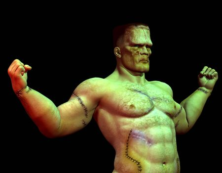 frankenstein: 3D rendering of a scarred, muscular Monster Stock Photo