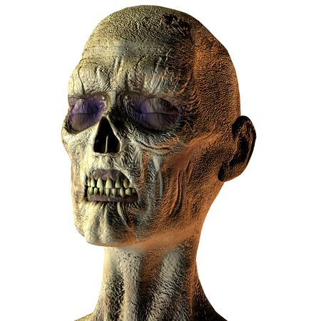 3D rendering of a zombie head with closed eyes