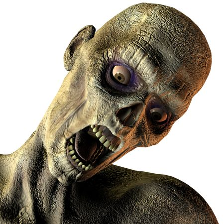 3D rendering of a portrait of screaming undead