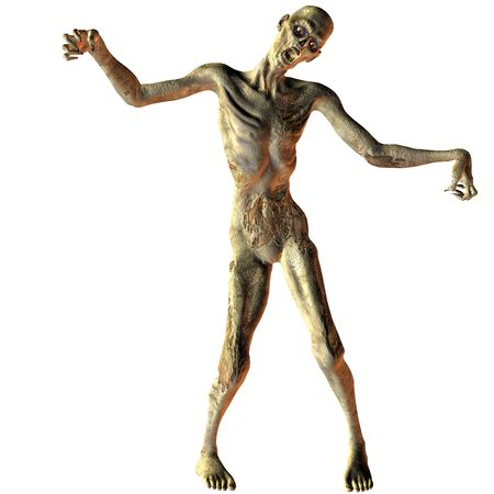 ugly: 3D rendering of a walking undead zombie Stock Photo