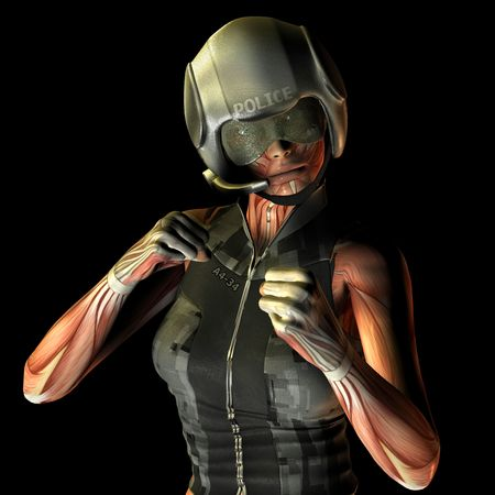 policewoman: 3D Rendering Muscle fighting policewoman Stock Photo