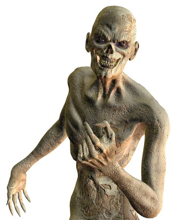undead: 3D rendering of a friendly rotten zombies with skin