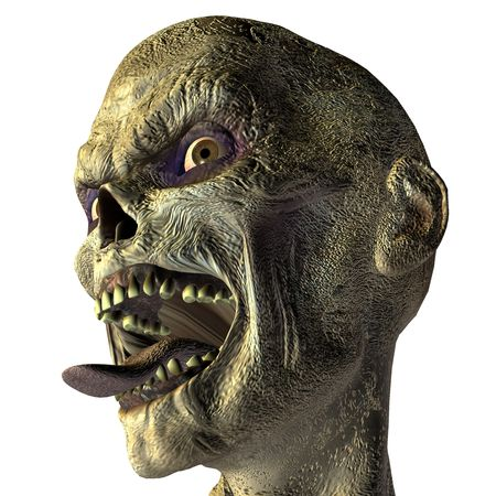 3D rendering of a monster head with outstretched tongue