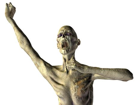 decaying: 3D rendering of a screaming zombies Stock Photo