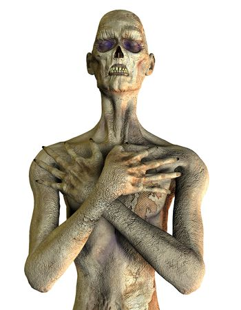 horrible: 3D rendering of a zombie in Pensive Pose Stock Photo