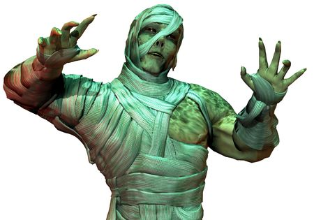 3D Rendering Undead mummy in the green neon light Stock Photo