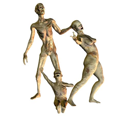 skinny people: 3D rendering of a zombie family