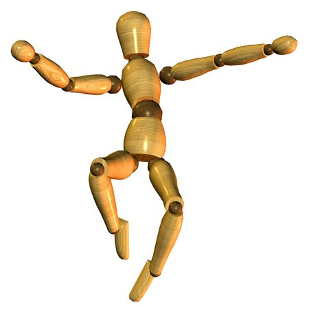 artists dummy: 3D rendering of a jumping puppet