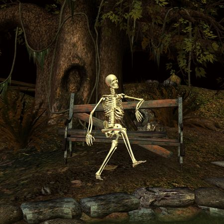 3d rendering a Fantasy scene with a skeleton at a forgotten place as illustration
