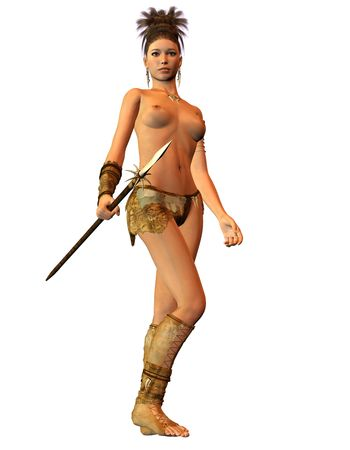 female warrior: 3D Rendering Amazon warrior with spear