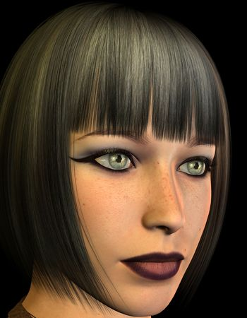 Rendering 3D portrait of a woman with a bob hairstyle photo
