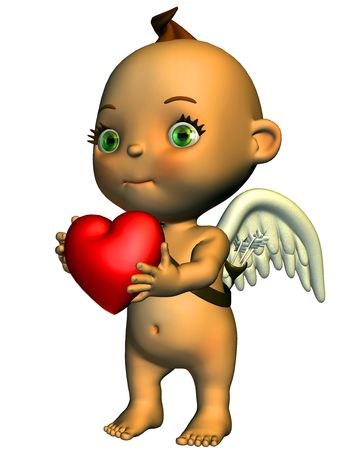 declaration of love: 3d render love angels in the comic a Style than illustration