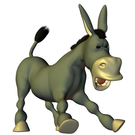 poser: 3d render a donkey in the comic style than illustration