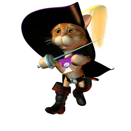 3d rendering from costume tomcat ready to fighting as Illustration Stock Illustration - 7910370