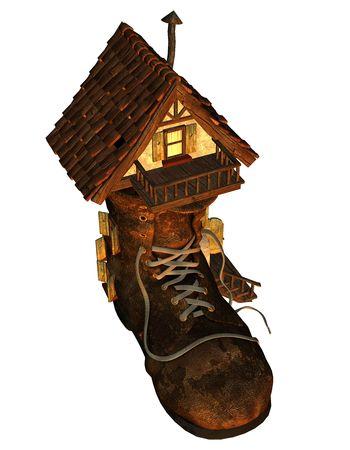 3d render a old house as fantasy illustration illustration