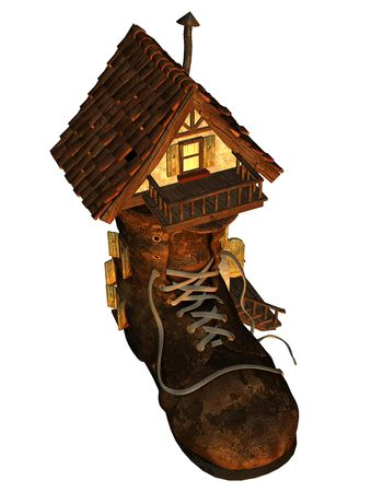 lacing: 3d render a old house as fantasy illustration Stock Photo
