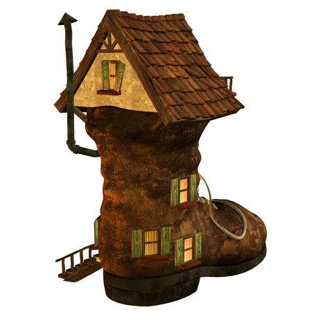 house render: 3d  render an old house as fantasy illustration