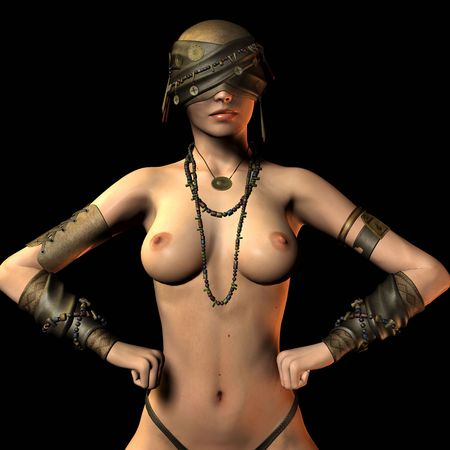 erotic fantasy: 3D rendering blind Amazon with blindfold