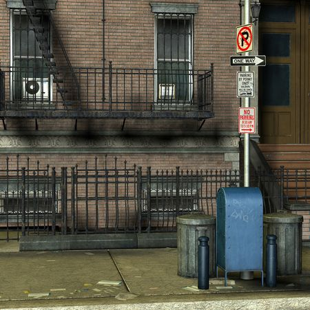 bronx: 3D Rendering Garbage cans in front of a New York house Stock Photo