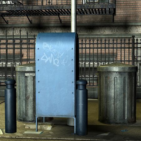 bronx: 3D Rendering Garbage cans on the street Stock Photo