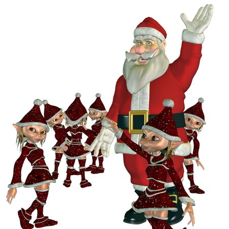 3d rendering of Santa Claus with its elves as illustration Stock Illustration - 7958054