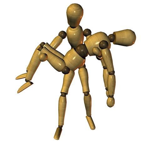 3d rendering a member doll in carry pose as illustration