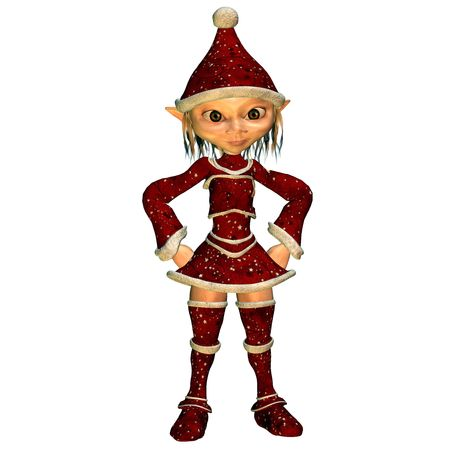 3d rendering a Christmas elf in pose as illustration illustration