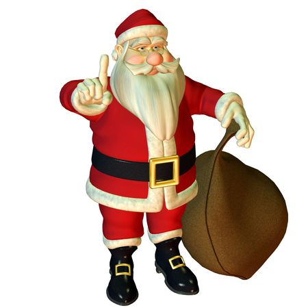 3d rendering of Santa Claus in attention pose as illustration illustration