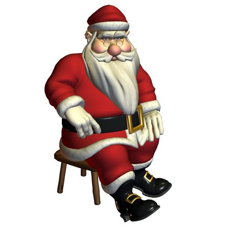 merrily: 3d rendering of Santa Claus in sitting float, rest themselves as illustration Stock Photo