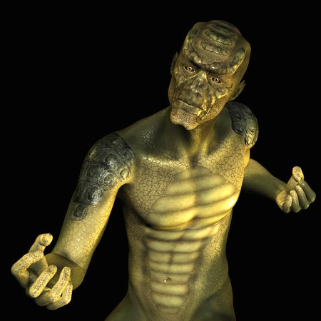scared man: 3D rendering of a reptile man