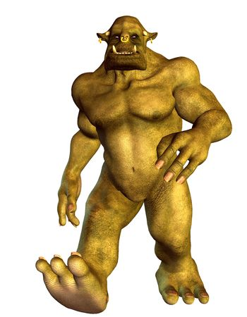 essence: 3D Rendering Fantasy figure running Orc Stock Photo