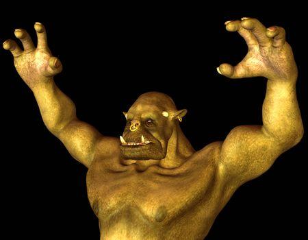 shudder: 3D Rendering Orc fantasy figure in attack pose