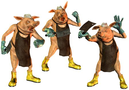 butcher's shop: 3D rendering three pigs in the slaughterhouse