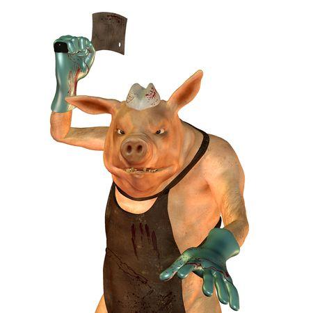 3D un cerdo de procesamiento es un carnicero  Foto de archivo - 7999638