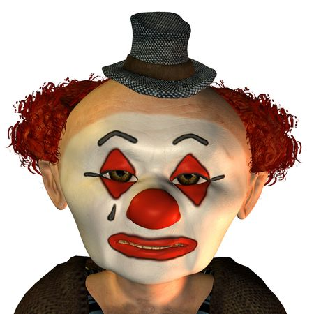 3D rendering of a sad clown in cartoon style photo