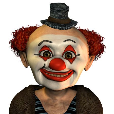 3D rendering of a happy clown cartoon style photo
