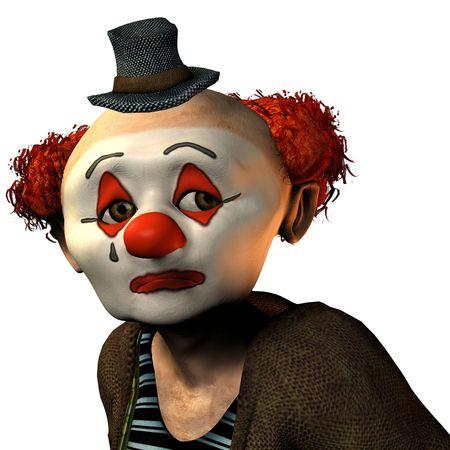 3D-Rendering von einem traurigen Clown im Cartoon-Stil