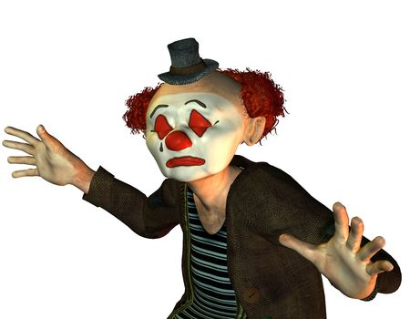 3D Rendering of a Sad Clown photo