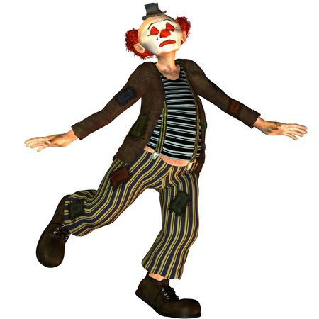 3D Rendering Dancing Clown with closed eyes photo