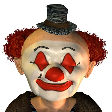 3D rendering of a clown, with eyes closed in cartoon style photo