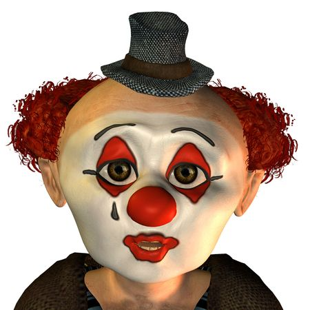 3D rendering of a clown face of surprise. In the cartoon style photo